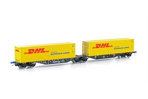 Mehano H0 PKP Cargo Container-Doppeltragwagen Sggmrs 90, DHL-Container, Ep. VI