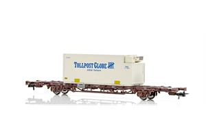 NMJ H0 NSB Containerwagen CargoNet Lgns 42 76 443 2015-1 Tollpost Globe